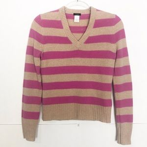 EUC J. Crew striped V neck lambs wool sweater